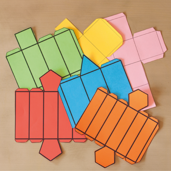 Plantillas de figuras geométricas: Cubo, ortoedro y primas