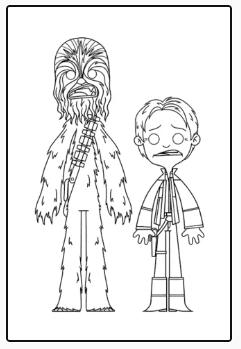Dibujo para colorear Han Solo y Chewaka. Star Wars.