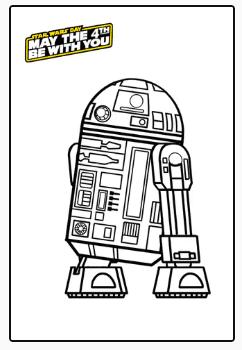 Colorear R2-D2. Star Wars.