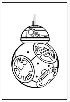 Colorear BB8. Star Wars.